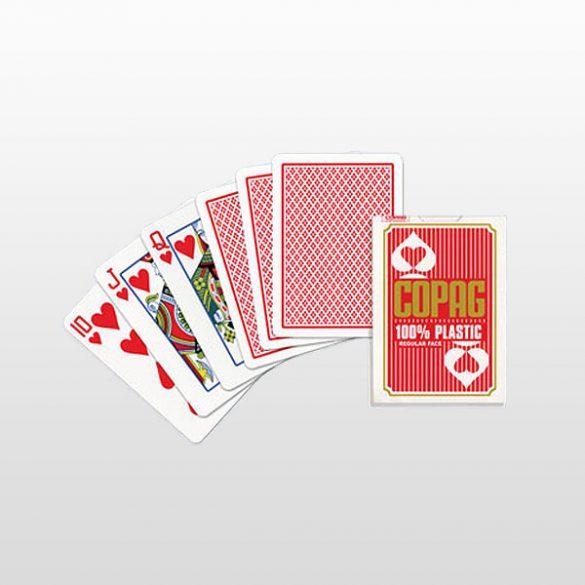 Póker kártya 100% plasztik, COPAG, piros, Regular Face (kis szám