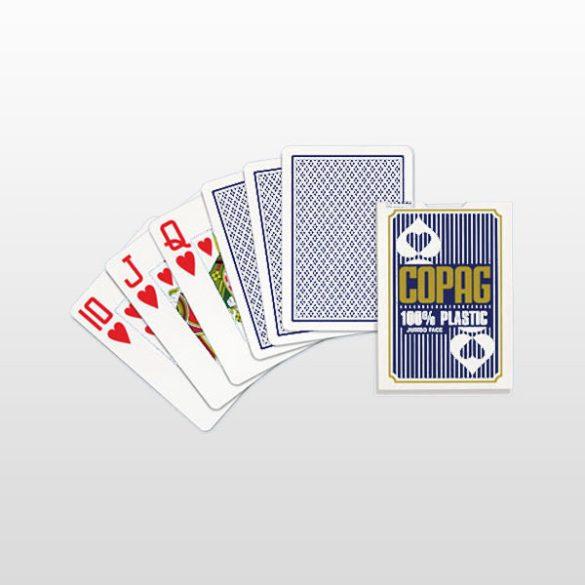 Póker kártya 100% plasztik, COPAG, kék, Jumbo Face (nagy számmal)