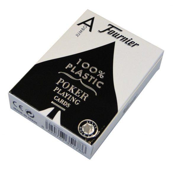 Póker kártya, fekete, Fournier, plasztik