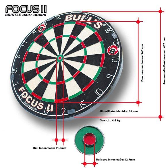 Bull's Focus II hivatalos verseny darts tábla, sisal kender, penge térrács