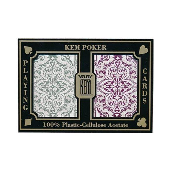 KEM Jacquard Wide Jumbo (Green and Burgundy) póker kártya, dupla csomag
