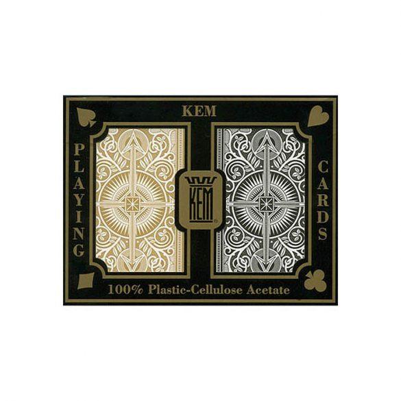 Póker kártya KEM Black/Gold wide 100% plasztik dupla pakli