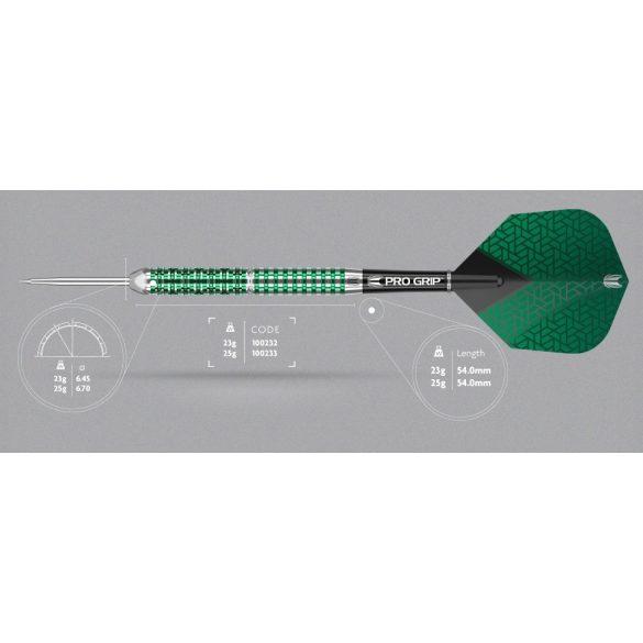 Darts szett TARGET steel, 25g, Agora Verde AV02, 90% wolfram